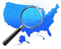 United States Map Under Magnifying Glass. 