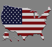 United States map vector with the american flag Stock Images