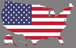 United States map vector with the american flag. On grey background Stock Image