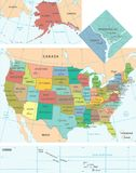 United States Map - Vector Illustration Royalty Free Stock Photo