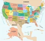 United States Map - Vector Illustration. United States Map - Detailed Vector Illustration Stock Image