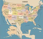 United States Map - Vintage Vector Illustration Royalty Free Stock Photos