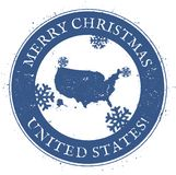 United States map. Vintage Merry Christmas United. United States map. Vintage Merry Christmas United States Stamp. Stylised rubber stamp with county map and Stock Images
