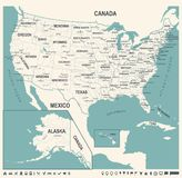 United States Map - Vintage Vector Illustration Royalty Free Stock Photo