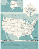 United States Map - Vintage Vector Illustration. United States Map - Vintage Detailed Vector Illustration Stock Photos