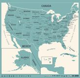 United States Map - Vintage Vector Illustration Stock Image