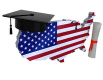 United states maps with Graduation Cap and Diploma Stock Photo