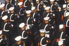 United States Marine Band. Marching in Parade, Pasadena, California royalty free stock photography
