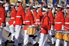 United States Marine Corp Marching Band. Soldiers of the United States Marine Corps Marching Band. Image taken during a ceremony at MCRD, San Diego on March 8th Royalty Free Stock Images