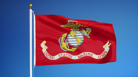 United States Marine Corps flag in slow motion seamlessly looped with alpha. United States Marine Corps flag waving in slow motion against blue sky, seamlessly stock video footage