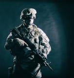 Modern army infantryman with machine gun royalty free stock photos
