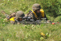United States Marine forces in Indonesia. United States Marine forces conducting combat training when the parameters along with the Marines at the Banongan coast stock photo