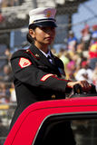 United States Marine in Veterans Day Parade. A proud uniformed United States Marine in parade for America Veterans Royalty Free Stock Photography