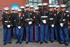 United States Marines at Billie Jean King National Tennis Center before unfurling the American flag prior US Open 2014 women final Stock Photo