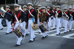 United States Merchant Marine Academy marching at the St. Patrick`s Day Parade in New York. Stock Images