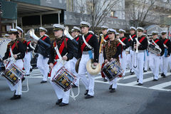 United States Merchant Marine Academy marching at the St. Patrick`s Day Parade in New York. Royalty Free Stock Photo