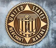 United States Merchant Marine Coin in a Concrete Slab Royalty Free Stock Photography
