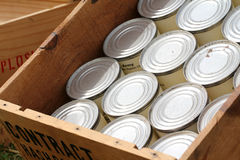 United States military ration. Box of tin can ration for the United States army Royalty Free Stock Image