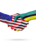 United States and Mozambique flags concept cooperation, business, sports competition Stock Photos