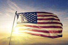 United States national flag textile cloth fabric waving on the top. American, usa, us national flag textile cloth fabric waving on the top sunrise mist fog vector illustration