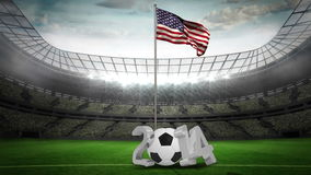 United States national flag waving on flagpole with 2014 message. On football stadium with flashes stock video footage