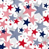 United States national symbol stars seamless pattern. US Memorial Day design element. Classic red and blue American repeatable motif for background Royalty Free Stock Photos