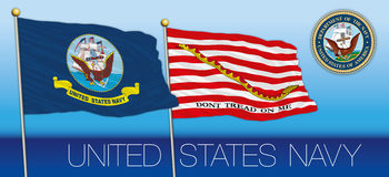 United States navy flag, jack flag and coat of arms Stock Photography