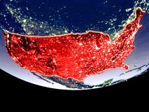 United States at night from space. Satellite view of United States from space at night. Beautifully detailed plastic planet surface with visible city lights. 3D vector illustration