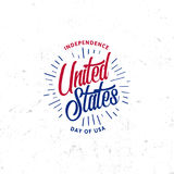 United States of North America Vector Logo Vintage simple style. Independence day national holiday icon. Blue and red. Colors USA windy flag. Retro style Stock Images