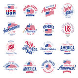 United States of North America Vector Logos Vintage set. Independence day national holiday icons collection Blue and red. United States of America Vector Logos Royalty Free Stock Photography
