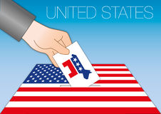 UNITED STATES - OCTOBER 2016 - Voting for the president of the united states symbol. Vector file, illustration ballot box with democratic symbol Royalty Free Stock Photos