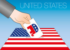 UNITED STATES - OCTOBER 2016 - Voting for the president of the united states symbol. Vector file, illustration ballot box with republican symbol Royalty Free Stock Photography