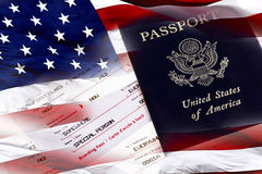 United States Passport, Boarding Pass and American Flag Stock Image