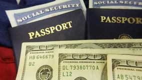 United States passport and currency with social security card - Travel documents tourism concept stock video