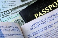 United States passport with one hundred dollar bills Stock Photography