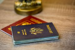 United states passport with second red passport Royalty Free Stock Photo