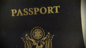 United States passport with social security card - Travel documents tourism concept stock video footage