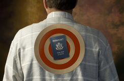United States passport target on man's back Stock Images
