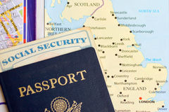 United States Passport and Travel Documents. With map of the united kingdom Royalty Free Stock Photos