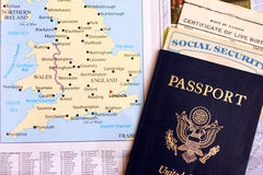United States Passport and Travel Documents. With map of europe Stock Photos