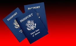 United States Passports. US passports on a red gradient background stock images