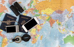 United States passports with other travel items Royalty Free Stock Photo