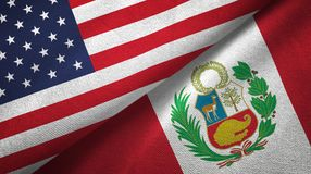 United States and Peru two flags textile cloth, fabric texture. United States and Peru flags together textile cloth, fabric texture stock photo