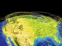 United States on Earth from space. United States on planet Earth with country borders and trajectories representing international communication, travel stock illustration