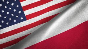 United States and Poland two flags textile cloth, fabric texture. United States and Poland flags together textile cloth, fabric texture royalty free illustration