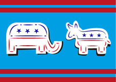 United States Politics. Democratic Donkey and Republican Elephant Broken Line Art Style. Stock Images