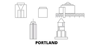 United States, Portland City line travel skyline set. United States, Portland City outline city vector illustration stock illustration