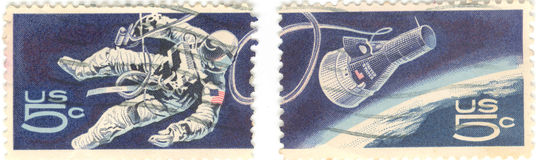 United States postage stamps. A series of two five cent United States space and space capsule postage stamps Stock Image
