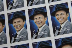 United States Postage Stamps. Frank Sinatra issued USPS postage stamps Royalty Free Stock Photo