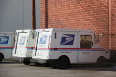 United States Postal Service Truck. Huntington Park, California, USA - November 22, 2014: The United States Postal Service or USPS, an independent agency of the Stock Images